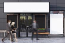 Gray Cafe Exterior With Four P...
