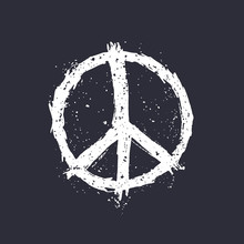 Peace Sign On Dark Vector Illustration