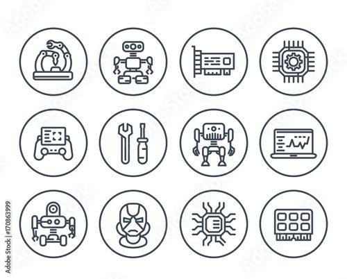 Robotics, mechanical engineering, robots, microelectronics line icons on white Tablou Canvas