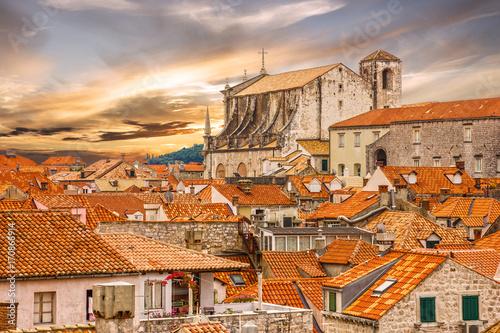 In de dag Centraal Europa Croatia. Ancient town Dubrovnik sunset panoramic view