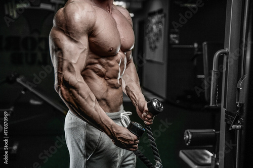 Vászonkép Brutal Caucasian bodybuilder working out in gym