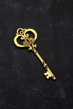 Golden Key With Crown On Black...