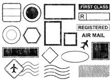 Blank Postal Stamps Set.illustration Vector
