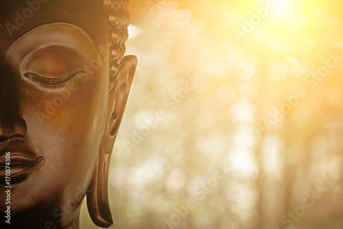 Spoed Foto op Canvas Boeddha the Head of Buddha Statue.