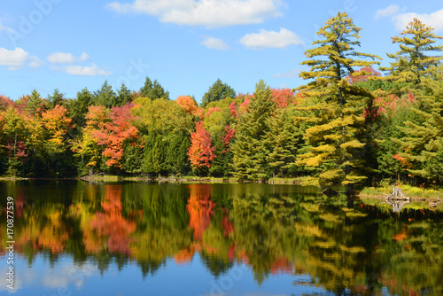 Fotobehang Herfst Church Pond in fall with foliage in town of Paul Smiths, Adrondack Mountains, New York, USA.
