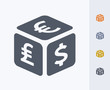 Currency Exchange Cube - Carbon Icons. A professional, pixel-perfect icon designed on a 32x32 pixel grid and redesigned on a 16x16 pixel grid for very small sizes.