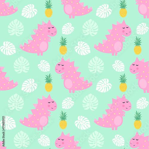 Materiał do szycia Różowy dinozaur z ananasem i palm pozostawia wzór na tle zielony miętowy. Dino tło dla dzieci. Dziecko ilustracja kreskówka stylu. Projekt dla tkanin, tkaniny, wystrój.
