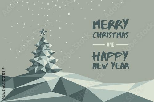 Fotografía  winterliche Weihnachtskarte Polygon blau