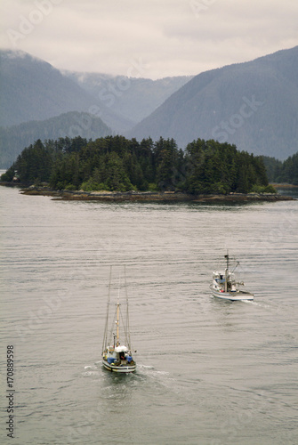 Fotografie, Obraz  Fishing Boats Motoring in Sitka Harbor