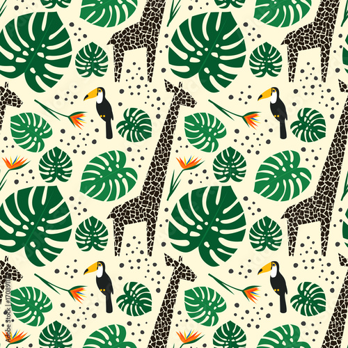 Tapety o tematyce podróżniczej bez-szwu-zyrafy-tukany-i-liscie-palmowe