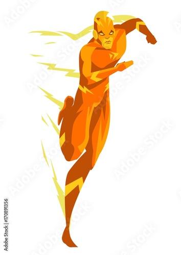 Fototapeta fast running superhero