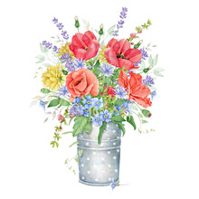 Watercolor Floral Bouquet With...