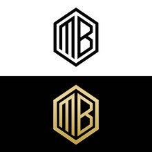 Initial Letters Logo Mb Black And Gold Monogram Hexagon Shape Vector