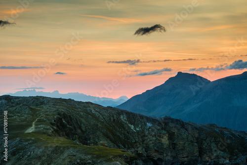 Stampa su Tela  Sonnenaufgang über dem Nationalpark Hohe Tauern