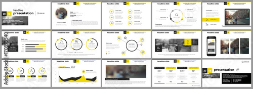 Fototapeta Yellow presentation templates elements on a white background. Vector infographics. Use in Presentation, flyer and leaflet, corporate report, marketing, advertising, annual report, banner. obraz na płótnie