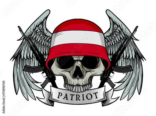 Printed kitchen splashbacks Watercolor skull Military skull or patriot skull with AUSTRIA flag Helmet and Wings Background and ak47 Gun