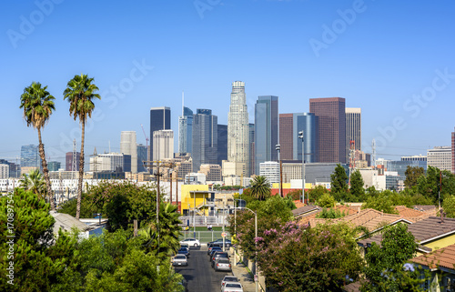 Poster Los Angeles Los Angeles, California, USA downtown cityscape at sunny day
