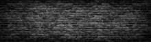 Black Brick Wall Panoramic Background For Design