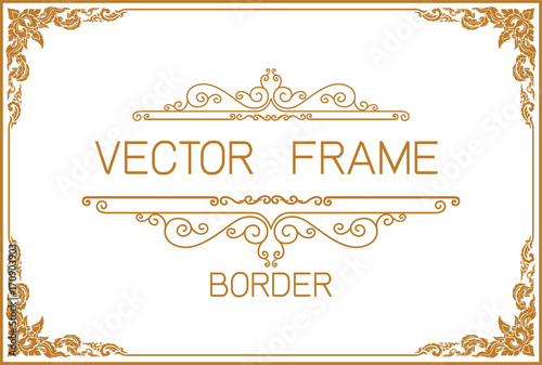 фотографія  Gold border design, frame photo template, certificate template with luxury and m