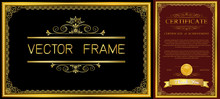 Gold Border Design, Frame Photo Template, Certificate Template With Luxury And Modern Pattern,diploma,Vector Illustration