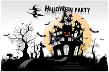 Happy Halloween Background With Pumpkin, Haunted House And Full Moon. Invitation Template For Halloween Party. Vector Illustration