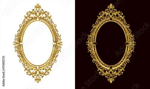 Εκτύπωση καμβά  Golden antique frame of Gold photo frame with corner line floral for picture, Vector border design decoration pattern style