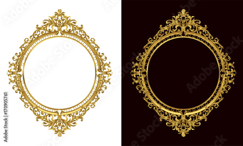 Stampa su Tela Golden antique frame of Gold photo frame with corner line floral for picture, Vector border design decoration pattern style