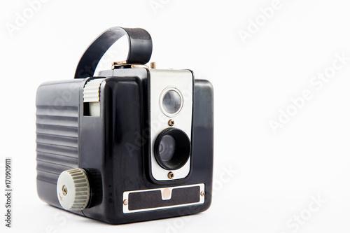Photo  Antique camera isolated on white background