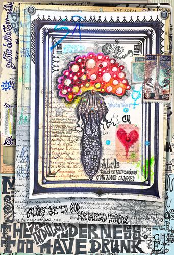 La pose en embrasure Imagination Misteriosi manoscritti esoterici ,astrologici e alchemici con fungo magico Amanita muscaria