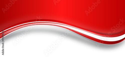 Fotografia, Obraz  Welle Band Banner Hintergrund Rot Weiß Wellen Textfreiraum