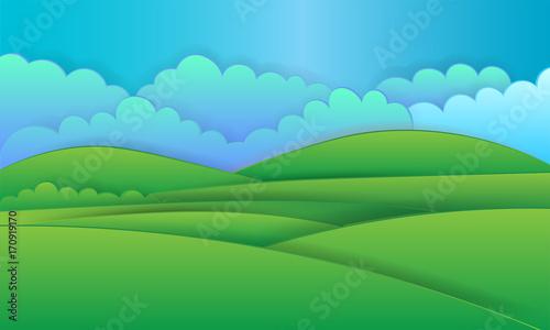 Spoed Foto op Canvas Turkoois nature landscape background, cuted paper design