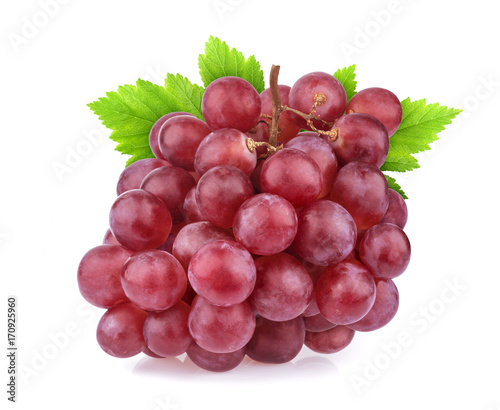 Red grape with leaves isolated on white background. Studio shot Fototapete