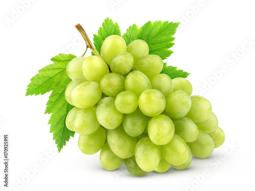 Foto  Green grape with leaves isolated on white background