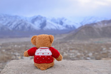 Lonely Teddy Bear Wearing Red Knitted Sweaters Sitting On The Rock And Thinking Of Someone. Seeing Beautiful Monutain With Snow Covered. Concept About Love And Expectation. Waiting For Weekend.