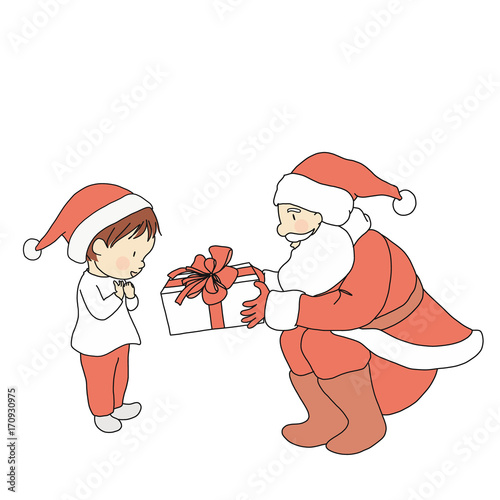 Vector Illustration Of Santa Claus Giving Gift To Little Kid