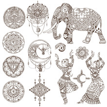 Dancers, Elephant, Mandalas, C...