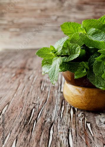 Canvas Prints Condiments Fresh mint in a wooden bowl, selective focus