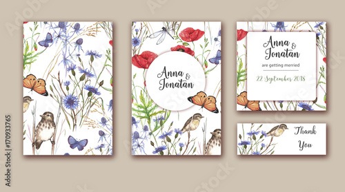 Watercolor hand drawn wedding invitations set with different wild ...