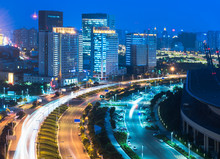 Zhengzhou Cityscape With International Convention And Exhibition Center,Zhengzhou City,Henan Province,China,East Asia.