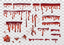 Blood Realistic Dripping Drops, Splatters, Spray, Stains, Smears Set. Vector Illustration