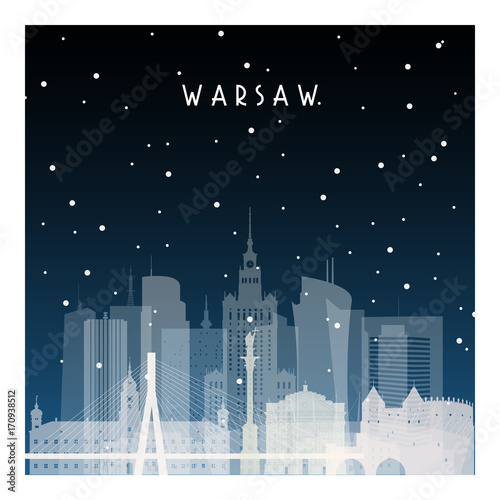 Fototapety Polska winter-night-in-warsaw-night-city-in-flat-style-for-banner-poster-illustration-game-background