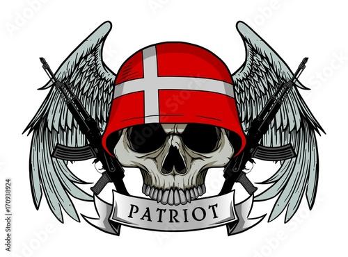 Printed kitchen splashbacks Watercolor skull Military skull or patriot skull with DENMARK flag Helmet and Wings Background and ak47 Gun