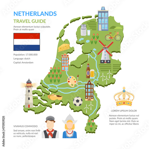 Canvas Print Netherlands Map Flat Infographics