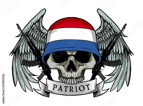 Printed kitchen splashbacks Watercolor skull Military skull or patriot skull with NETHERLANDS flag Helmet and Wings Background and ak47 Gun