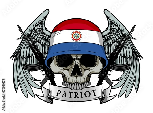 Printed kitchen splashbacks Watercolor skull Military skull or patriot skull with PARAGUAY flag Helmet and Wings Background and ak47 Gun