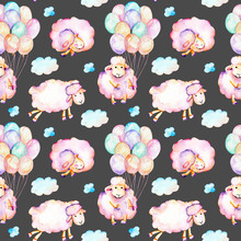 Seamless Pattern With Watercolor Cute Pink Sheeps, Air Balloons And Clouds Illustrations, Hand Drawn Isolated On A Dark Background