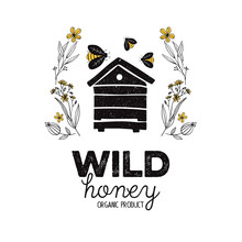 Honey Label Design. Concept For Organic Honey Products, Package Design.