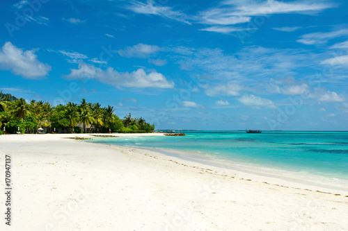 Foto auf Acrylglas Tropical strand Beautiful sandy beach with sunbeds and umbrellas in Indian ocean, Maldives island