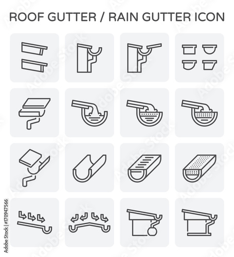 Valokuva  Roof gutter or rain gutter for drainage system vector icon set design