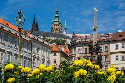 Plakat Kolumna Trójcy Przenajświętszej na rynku małopolskim w Pradze, Republika Czeska